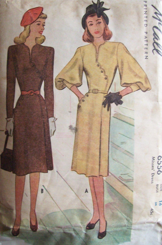 Vintage 40�s McCall 6556 Bishop Sleeve Collarless Dress Asymmetrical Detail Uncut Size 16 B34
