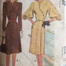 Vintage 40's McCall 6556 Bishop Sleeve Collarless Dress Asymmetrical Detail Uncut Size 16 B34