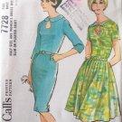 Vintage 60s McCall's 7728 Keyhole Neckline Slim or Pleated Skirt Dress Uncut Size 20 ½ B41