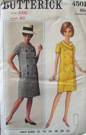Vintage 60�s Butterick 4501 Mod Double Breasted Coat Dress Pattern Uncut Size 22 ½