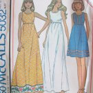 Vintage 70's McCall's 5032 Empire Waist Maxi Dress Pattern Sleeveless Uncut Size 12 Bust 34