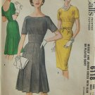 Vintage 60s McCall's 6118 Fitted Midriff Bateau Neck Slim or Pleated Dress Pattern Uncut Size 14