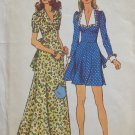 Vintage 70s Simplicity 5728 Italian Collar Fitted Midriff Tunic Mini or Maxi Dress Pattern Uncut