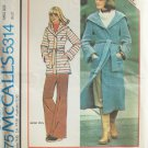 Vintage McCall's 5314 Hooded Sweater Jacket Coat Sewing Pattern Tie Belt Uncut Size Small 10-12