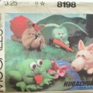 Vintage 80s McCall's 8198 Hugachum Animal Pack Pattern Pig Frog Bulldog and Rabbit