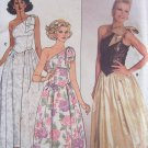 Vintage 80s Butterick 3582 One Shoulder Drop Waist Formal Evening Dress Pattern Uncut Size 12-16