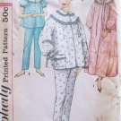 Vintage 60s Simplicity 3239 Long Nightgown Front Button Pajamas Pattern Uncut Size 12