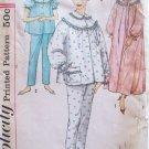 Vintage 60s Simplicity 3239 Long Nightgown Front Button Pajamas Pattern Uncut Size 12