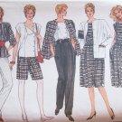 Vintage 80s Vogue 8617 Long Jacket A-Line Skirt Shorts Top Pattern Uncut Size 14-18