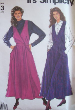 Simplicity 9963 Surplice Jumper Dress Pattern Pleated Skirt Uncut Size 8-20