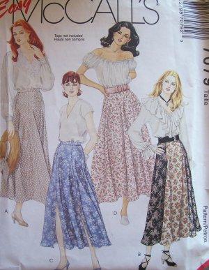 McCall�s 7079 Gored or Semi Circle Skirt Pattern Uncut Size 8-12