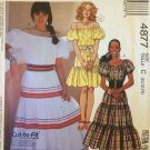 McCall's 4877 Two Piece Peasant Dress Pattern Uncut Size 10-14 Top and Skirt