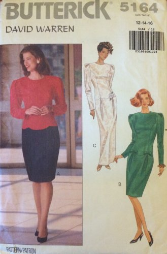 Butterick 5164 David Warren Dropped Waist Evening Cocktail Dress Pattern Uncut Size 12-16