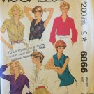 Vintage 70s McCall's 6866 V-Neck Pointed Collar Blouse Pattern Sleeveless or Long Uncut Size 20