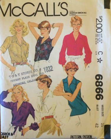 Vintage 70s McCall�s 6866 V-Neck Pointed Collar Blouse Pattern Sleeveless or Long Uncut Size 20