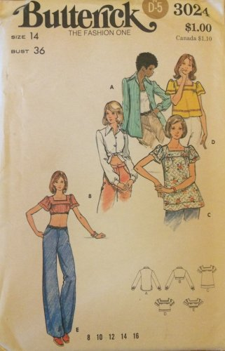 Vintage 70's Butterick 3024 Smock or Cropped Top Shirt Pattern Uncut Size 14