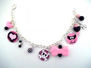 Handmade Pink/Black Pirate Girl Charm Bracelet!