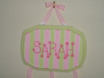 pink and green striped hair bow holder