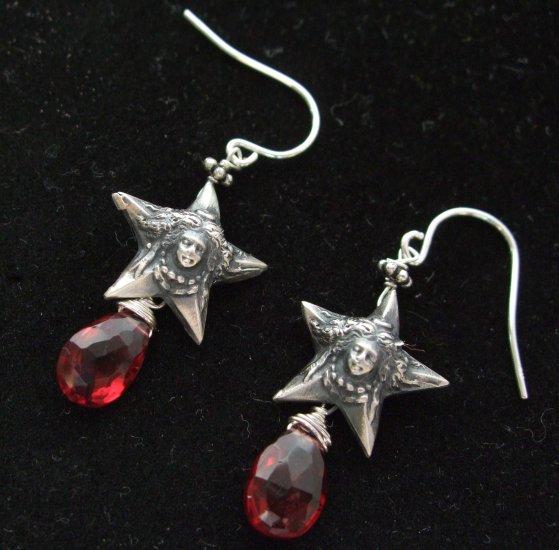 Sterling Silver Vintage French Stars & Garnet Earrings