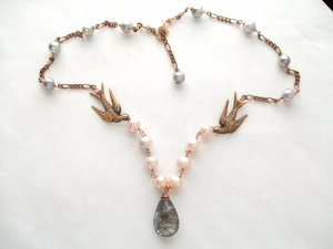 18k Rose Gold Birds Black Rutilated Quartz & Pearl Necklace