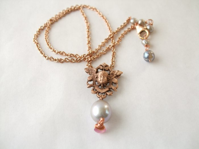 Rose Gold Vermeil Cherub in Shield with Pearl & Tourmaline Necklace