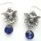 Silver Vintage French Cherub-in-Shield & Iolite Earrings