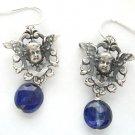 Silver Vintage French Cherub-in-Shield & Iolite Earrings