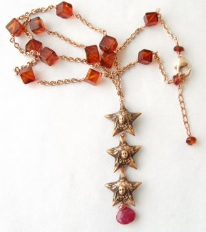 18k Rose Gold Vermeil Triple French Star with Ruby & Amber Necklace