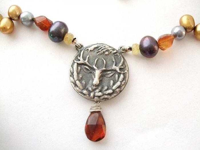 Sterling Silver Deer Stag Medallion with Pearl & Citrine Necklace