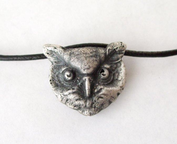 Sterling Silver Vintage Owl Bracelet on Leather Cord