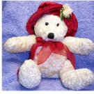 RED HAT TEDDY BEAR STUFFED ANIMAL PLUSH / IVORY COLOR