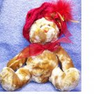 RED HAT TEDDY BEAR STUFFED ANIMAL PLUSH / HONEY COLOR
