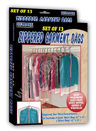 Buy garment bags for storage - Zippered Garment Bags (Set of 13) / Storage Dynamics