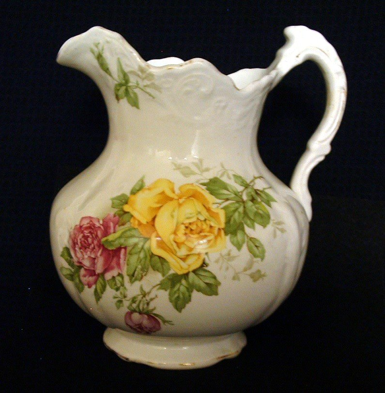 Small Floral Pitcher Buffalo Pottery Antique