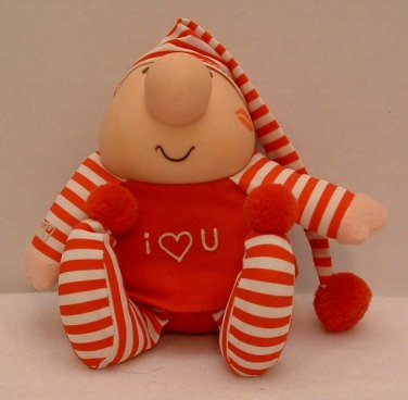 "Stuffed Plushie Ziggy Doll 7"" Red Striped PJs Tom Wilson Vintage 1989 #2"