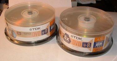 DVD Blank Media  TDK (DVD-R47DCB25) DVD+R 8X 4.7GB  (2) 25 Packs (Total 50 Disks)