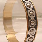 Bracelet Bangle Gold and Silver Tone Metal With Silver Tone Bumps