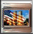 FLAG OVER TWIN TOWERS ITALIAN PHOTO CHARM