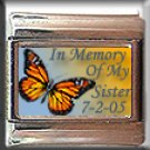 IN MEMORY OF SISTER BUTTERFLY ITALIAN CHARM CHARMS