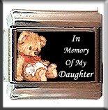 IN MEMORY OF DAUGHTER TEDDYBEAR ITALIAN CHARM