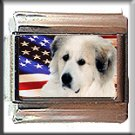 GREAT PYRENEES AND AM FLAG ITALIAN CHARM