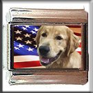 GOLDEN RETRIEVER AND AM FLAG ITALIAN CHARM