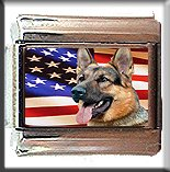 GERMAN SHEPHERD AND AM FLAG ITALIAN CHARM