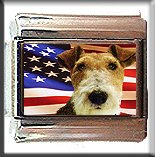 FOX WIRE HAIRED TERRIER AND AM FLAG ITALIAN CHARM