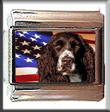 ENGLISH SPRINGER SPANIEL AND AM FLAG ITALIAN CHARM