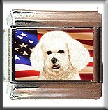 BICHON FRISE AND AM FLAG ITALIAN CHARM