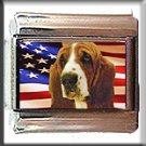 BASSET HOUND AND AM FLAG ITALIAN CHARM
