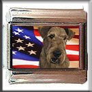 AIREDALE TERRIER AND AM FLAG ITALIAN CHARM