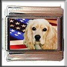 COCKER SPANIEL AND AM FLAG ITALIAN CHARM