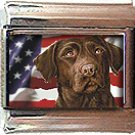 CHOCOLATE LABRADOR AND AM FLAG ITALIAN CHARM